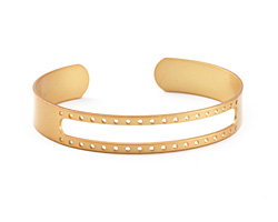 Satin Gold Finish Open Stitchable Cuff Bracelet 60x10mm