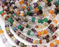 Multi Gemstone (Amethyst, Aquamarine, Carnelian, Citrine, Rock Crystal) Faceted Rondelle 3-4x4mm