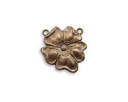 Vintaj Natural Brass Flower Pendant 19mm
