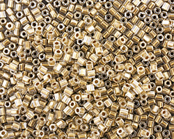 TOHO Crystal (with Gold Lining) Hex 11/0 Seed Bead