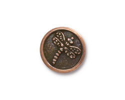 TierraCast Antique Copper (plated) Dragonfly Button 17mm