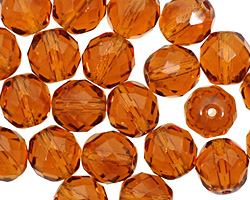 Czech Fire Polished Glass Dark Topaz Round 10mm