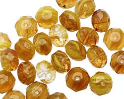 Czech Glass Sunflower Quartz Fire Polished Rondelle 6x9mm