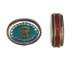 """Tibetan White Brass & Brass """"Om"""" Oval Coin Bead w/ Turquoise & Coral 20-22x16-18mm"""