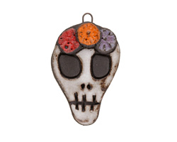 Gaea Ceramic Day of the Dead Skull Flower Crown Pendant 29-30x47-48mm