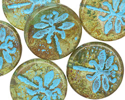 Czech Glass Transparent Moss Picasso w/ Turquoise Dragonfly Coin 23mm