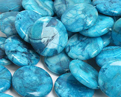 Larimar Blue Crazy Lace Puff Coin 22mm