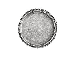 Nunn Design Antique Silver (plated) Circle Ornate Grande Brooch 39mm