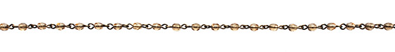 Czech Fire Polished Smoky Topaz Faceted Oval Antique Brass (plated) Bead Chain