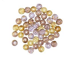 Czech Glass Royal w/ Gold Marble Round Druk 4mm