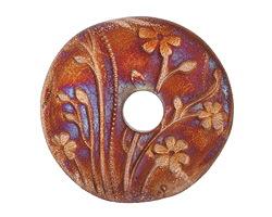 Xaz Raku Stan's Rust Large Flower Coin 44-45mm