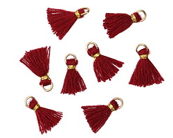 Garnet w/ Gold Binding & Jump Ring Tiny Thread Tassel 12mm