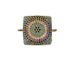 Wildflower Mix Pave CZ Gold (plated) Square Focal Link 22x18mm