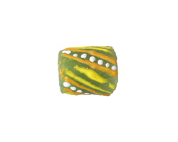 African Hand-Painted in Yellow/Saffron/White on Lime Green Powder Glass (Krobo) Bead 13-16x12mm