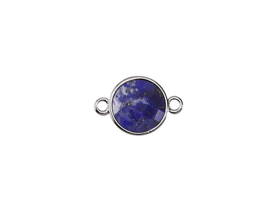Lapis (enhanced) Faceted Coin Focal Link in Silver Finish Bezel 18x12mm
