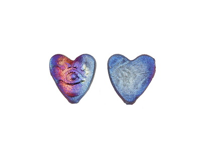 XAZ Raku Stan's Rust & Blue Small Heart w/ Eye 15mm