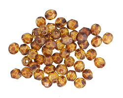 Czech Fire Polished Glass Matte Crystal Picasso Round 4mm