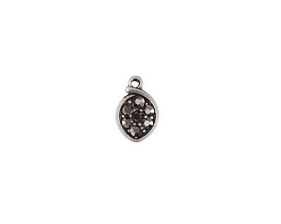 Gunmetal Pave CZ Antique Silver (plated) Small Cupped Leaf Charm 7x11mm