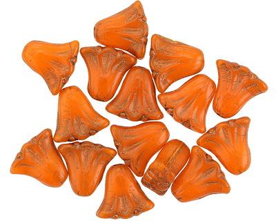 Czech Glass Bronzed Pumpkin Tulip 9mm