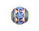 Cloisonné Blue, Aqua & Green w/ Gold Finish Openwork Daisy Rondelle 19x20mm