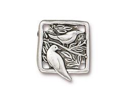 TierraCast Antique Silver (plated) Botanical Bird Link 18x21mm