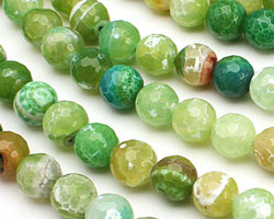 Apple Fire Agate Faceted Round 12mm