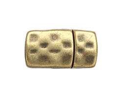 Antique Brass (plated) Hammered Magnetic Clasp 18x15mm