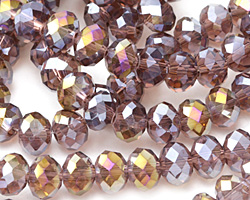 Amethyst AB Crystal Faceted Rondelle 8mm
