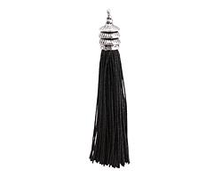 Zola Elements Jet Thread Tassel w/ Antique Silver Finish Pagoda Tassel Cap 12x90mm