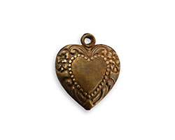 Vintaj Natural Brass Cherished Heart Pendant 16x18mm