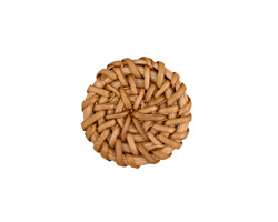 Natural Rattan-Style Woven Coin Focal 30-33mm