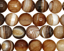 Amber Line Agate Faceted Round 10mm