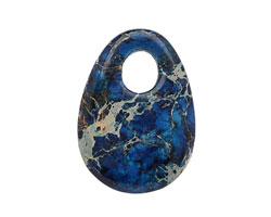Midnight Blue Impression Jasper Flat Oval Pendant 25x35mm