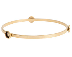 Nunn Design Antique Gold (plated) Large Flat Bangle Bracelet w/ Bezels 70mm