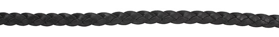 Black Flat Braided Leather Cord 10mm