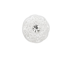 Czech Glass White Lace & Crystal Button 18mm