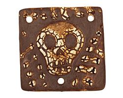 Earthenwood Studio Ceramic Crackle Skully Square Connector 40mm