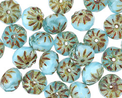 Czech Glass Baby Blue Picasso Cruller 6x9mm