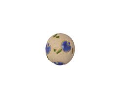 Golem Studio Blue Tulips Carved Ceramic Round Bead 12-13x14mm