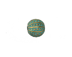 Patina Green Brass (plated) Sea Urchin Round 13mm