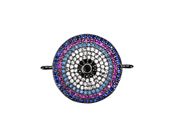 Sangria Mix Pave CZ Gunmetal (plated) Coin Focal Link 25x18mm