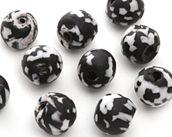 African Recycled Glass Black & White Tumbled Round 10-14mm