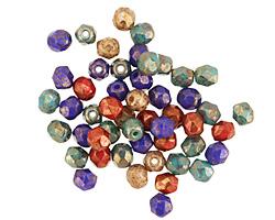 Czech Fire Polished Glass Bronzed Jewel-tone Round 4mm
