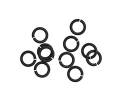 Matte Black (plated) Round Jump Ring 6mm, 18 gauge