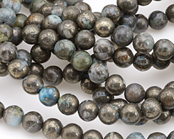 Golden Pyrite w/ Blue Quartz Round 8mm
