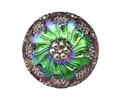 Czech Glass Pink & Green Flower Button 27mm