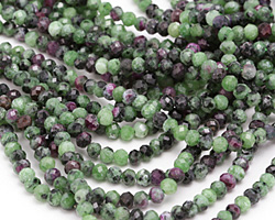 Ruby Zoisite Faceted Rondelle 4mm