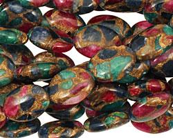 Jewel Tone Mosaic Stone Flat Oval 14x10mm