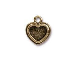 TierraCast Antique Brass (plated) Stepped Heart Bezel Charm 15x17mm