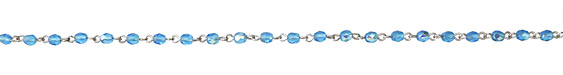 Czech Fire Polished 4mm Aqua AB Faceted Round Silver (plated) Bead Chain